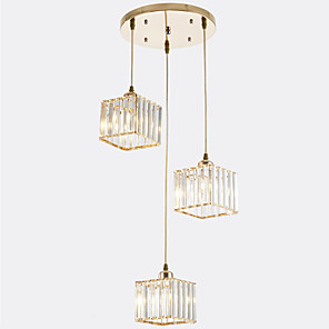 cheap Pendant Lights-13 cm Cluster Design / Square Line Design Pendant Light Metal Crystal / Mini Painted Finishes Contemporary / Artistic 110-120V / 220-240V