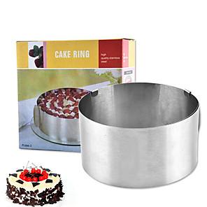 baratos Utensílios para Biscoitos-Mousse redonda de aço inoxidável molde do bolo círculo 6-12 polegada ajustável ferramenta de cozimento