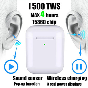 cheap Wired Earbuds-New i500 TWS 2 1 to 1 Replica Bluetooth Headset Wireless headset 6D subwoofer sound sensor with wireless charging headset pk i100 i200 i1000 tws W1 / H1 chip