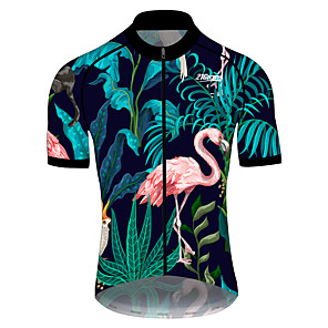 cheap Cycling Jerseys-21Grams Men's Short Sleeve Cycling Jersey Pink+Green Flamingo Animal Floral Botanical Bike Jersey Top Mountain Bike MTB Road Bike Cycling UV Resistant Breathable Quick Dry Sports Clothing Apparel