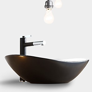 cheap Vessel Sinks-Simple Nordic Style Bathroom Vanity Basin Loft Industrial Black Matte Washbasin Ceramic Single Basin Without Faucet