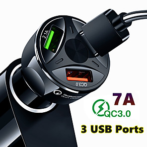 cheap Car DVD Players-Quick Charge QC3.0 Car Charger 3 USB Ports Car Cigarette Lighter Adapter for iPhone Samsung Huawei Xiaomi QC Car Phone Charging