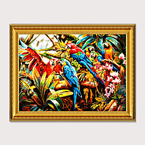 cheap Framed Arts-Framed Art  Cartoon Printed Pictures Canvas Oil Painting Group of parrots For Kids Room Wall Art Decor