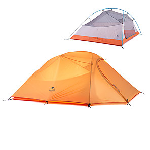 cheap Tents, Canopies & Shelters-Naturehike 3 person Backpacking Tent Outdoor Waterproof Portable Windproof Double Layered Camping Tent >3000 mm for Hunting Camping Outdoor Silicone Polyester Aluminium 300*175*110 cm