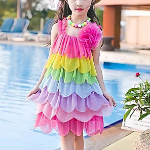 cheap Movie & TV Theme Costumes-Kids Girls' Cute Red Color Block Rainbow Backless Layered Ruched Sleeveless Above Knee Dress Fuchsia