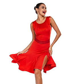 cheap Latin Dancewear-Latin Dance Dress Tassel Women's Performance Milk Fiber Polyester