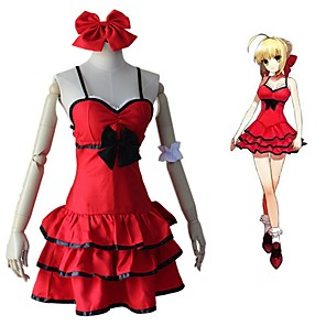 cheap Anime Costumes-Inspired by Fate / Extella Saber Anime Cosplay Costumes Japanese Cosplay Suits Dress Tie-on Bows Wristlet For Women's