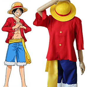 cheap Anime Costumes-Inspired by One Piece·Two Years After Version Monkey D. Luffy Anime Cosplay Costumes Japanese Cosplay Suits Top Pants Belt For Women's