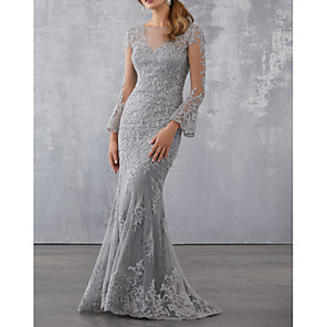 cheap Wedding Wraps-Mermaid / Trumpet Elegant Wedding Guest Formal Evening Dress Illusion Neck 3/4 Length Sleeve Sweep / Brush Train Tulle with Beading Appliques 2020