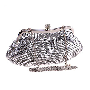 cheap Clutches & Evening Bags-Women's Sequin / Crystals Polyester Evening Bag Solid Color Silver