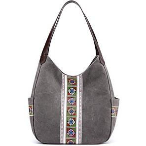 cheap Handbag & Totes-Women's Zipper Canvas Top Handle Bag Solid Color Dark Brown / Black / Gray