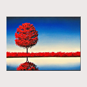 cheap Abstract Paintings-Handmade Oil Painting on Canvas Abstract Landscape Wall Art Lake The Reflection Scenery Artwork