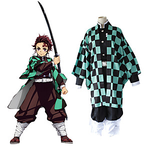 cheap Anime Costumes-Inspired by Demon Slayer: Kimetsu no Yaiba Kamado Tanjirou Anime Cosplay Costumes Japanese Cosplay Suits Top Pants Cloak For Men's Women's / Kneepad / Waist Belt