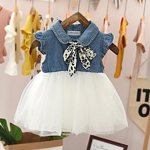 cheap Clearance-Baby Girls' Basic Color Block Sleeveless Dress White