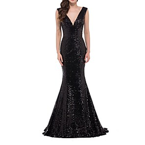 cheap Prom Dresses-Mermaid / Trumpet Blue Black Prom Formal Evening Dress V Neck Sleeveless Floor Length Polyester with Sequin 2020