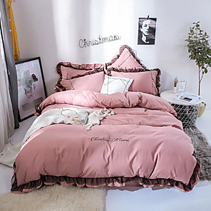 cheap Duvet Covers-Goddess Small Money Lace Decorative Matte Quilt Cover Embroidery Four Piece Bedding Sheet Lotus Root Color