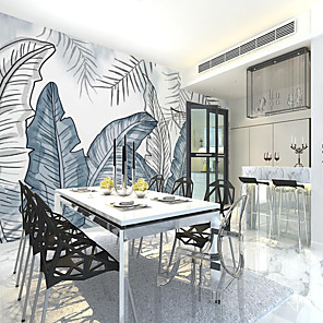 cheap Wall Murals-Custom Self-adhesive Mural Wallpaper Blue Gray Leaves Suitable For Bedroom Living Room Coffee Shop Restaurant Hotel Wall Decoration Art Room Wallcovering