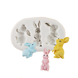 cheap Bakeware-Easter cartoon bunny bunny chocolate mold cake mold silicone mold family fondant baking tools
