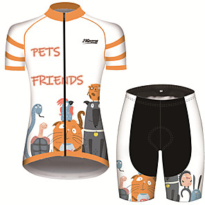 cheap Cycling Jersey & Shorts / Pants Sets-21Grams Women's Short Sleeve Cycling Jersey with Shorts Orange+White Animal Cartoon Snake Bike Clothing Suit Breathable 3D Pad Quick Dry Ultraviolet Resistant Sweat-wicking Sports Animal Mountain