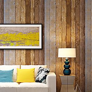 cheap Wallpaper-21in*375in Wood Peel and Stick Wallpaper Decorative Wall Covering Vintage Wood Panel Interior Film for room  Decoration