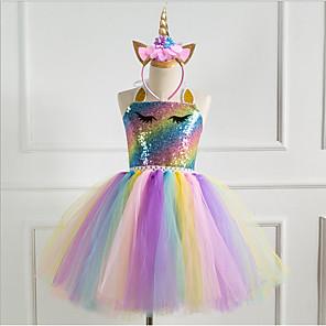 cheap Movie & TV Theme Costumes-Kids Girls' Rainbow Dress Gold