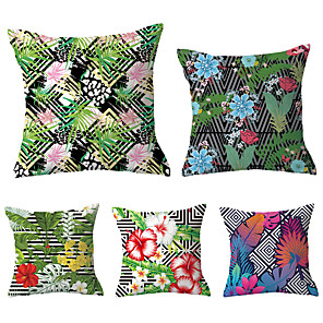 cheap Pillow Covers-5 pcs Polyester Pillow Cover, Geometric Flower / Floral Classic Pastoral Square Traditional Classic