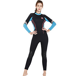cheap Wetsuits, Diving Suits & Rash Guard Shirts-Women's Full Wetsuit 3mm SCR Neoprene Diving Suit Windproof High Elasticity Long Sleeve Back Zip Solid Colored Autumn / Fall Winter