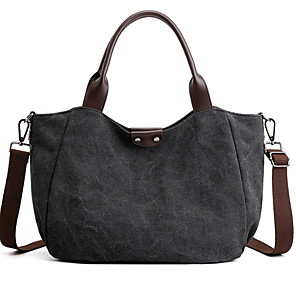 cheap Handbag & Totes-Women's Zipper Canvas Top Handle Bag Solid Color Blue / Black / Gray
