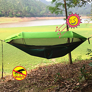 halpa Retkeilykalusteet-Retkeily-riippumatto, jossa Pop Up Mosquito Net Double Hammock Ulko- Kannettava Kevyt Aurinkovoide Laskuvarjo Nylon karabiinien ja puuhihnojen kanssa varten 2 henkilöä Metsästys Kalastus Retkeily