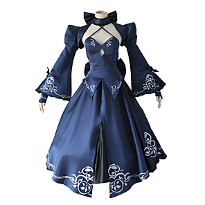 cheap Anime Costumes-Inspired by Fate / Stay Night Saber Anime Cosplay Costumes Japanese Cosplay Suits Top Dress Shawl For Women's / Bow / Sleeves / Neckwear