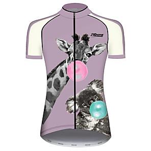 cheap Cycling Jersey & Shorts / Pants Sets-21Grams Women's Short Sleeve Cycling Jersey Violet Animal Giraffe Koala Bike Jersey Top Mountain Bike MTB Road Bike Cycling UV Resistant Breathable Quick Dry Sports Clothing Apparel / Stretchy