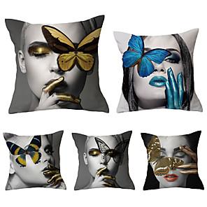 cheap Throw Pillow Covers-Set of 5 Throw Pillow Simple Classic 45*45 cm Cushion Vintage Circle Cover Sofa Home Decor Throw Pillow Case