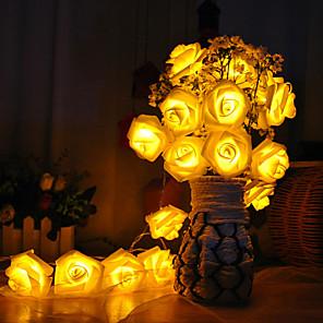 cheap Prints-1M 10led AA Battery LED Rose Christmas Lights Holiday String Lights Valentine Wedding Decoration Flower Bulbs LED Lamp
