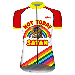 cheap Cycling Jerseys-21Grams Women's Short Sleeve Cycling Jersey Red and White Rainbow Animal Bike Jersey Top Mountain Bike MTB Road Bike Cycling UV Resistant Breathable Quick Dry Sports Clothing Apparel / Stretchy