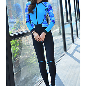 cheap Wetsuits, Diving Suits & Rash Guard Shirts-Women's Rash Guard Dive Skin Suit Diving Suit UV Sun Protection Anatomic Design Long Sleeve Front Zip 3-Piece - Diving Water Sports Painting Summer Winter / Micro-elastic