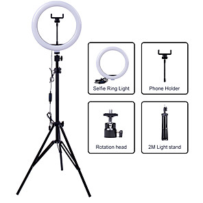 cheap Eyeshadows-26cm LED Selfie Ring Light 24W 5500K Studio Photography Photo Fill Ring Light with Tripod for iphone Smartphone Makeup