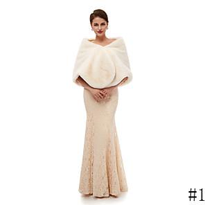 cheap Wedding Wraps-Sleeveless Shawls Faux Fur Wedding Women's Wrap With Solid