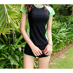 cheap Wetsuits, Diving Suits & Rash Guard Shirts-Women's Rash Guard Dive Skin Suit Tankini Diving Suit UV Sun Protection Anatomic Design Short Sleeve 2-Piece - Diving Water Sports Patchwork Summer / Micro-elastic