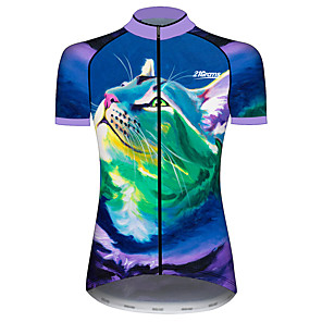 cheap Cycling Jersey & Shorts / Pants Sets-21Grams Women's Short Sleeve Cycling Jersey Blue+Green Cat Animal Bike Jersey Top Mountain Bike MTB Road Bike Cycling UV Resistant Breathable Quick Dry Sports Clothing Apparel / Stretchy / Race Fit
