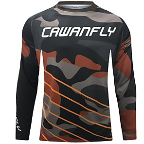 cheap Cycling Jerseys-CAWANFLY Men's Long Sleeve Cycling Jersey Downhill Jersey Dirt Bike Jersey Winter Polyester Black Stripes Novelty Camo / Camouflage Bike Jersey Top Mountain Bike MTB Breathable Quick Dry Sweat-wicking