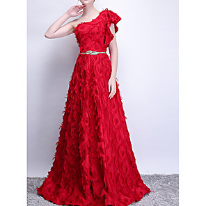 cheap Wedding Wraps-A-Line Luxurious Red Engagement Prom Dress One Shoulder Sleeveless Floor Length Polyester with Sash / Ribbon Appliques 2020