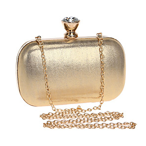 cheap Clutches & Evening Bags-Women's Crystals / Chain Polyester Evening Bag Solid Color Black / Gold / Silver