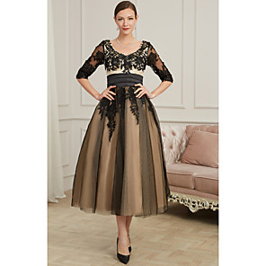 cheap Ballroom Dancewear-A-Line Sexy Cocktail Party Prom Dress V Neck 3/4 Length Sleeve Ankle Length Polyester with Appliques 2020