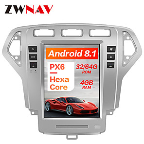 cheap Car DVD Players-ZWNAV 10.4 Inch 1 Din PX6 4GB 64GB Tesla style Android 8.1 Car GPS Navigation Car multimedia Player In-Dash Car DVD Player For Ford Mondeo MK4 2007-2010