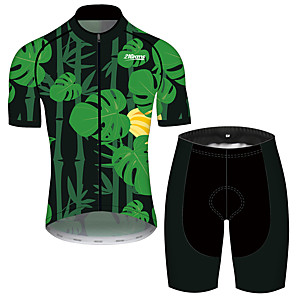 cheap Cycling Jersey & Shorts / Pants Sets-21Grams Men's Short Sleeve Cycling Jersey with Shorts Black / Green Leaf Floral Botanical Bike Clothing Suit UV Resistant Breathable 3D Pad Quick Dry Sweat-wicking Sports Solid Color Mountain Bike