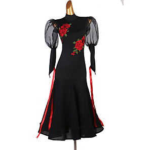 cheap Ballroom Dancewear-Ballroom Dance Dress Embroidery Women's Performance Long Sleeve Spandex