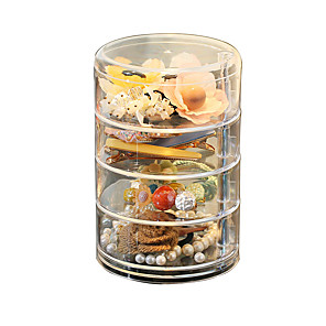 cheap Storage & Organization-4-layer Transparent Rotating Plastic Jewelry Box Earrings Necklace Ring Jewelry Storage Box Multi-function Earring Storage Rack