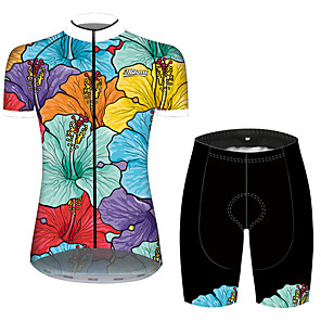 cheap Cycling Jersey & Shorts / Pants Sets-21Grams Women's Short Sleeve Cycling Jersey with Shorts Blue+Yellow Floral Botanical Bike Clothing Suit Breathable 3D Pad Quick Dry Ultraviolet Resistant Sweat-wicking Sports Floral Botanical