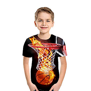 cheap Synthetic Lace Wigs-Kids Boys' Active Street chic Geometric 3D Patchwork Print Short Sleeve Tee Rainbow