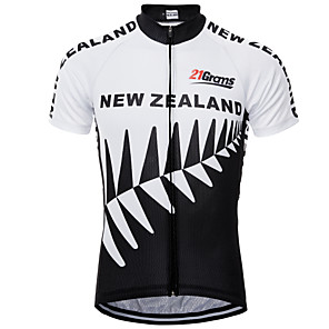cheap Cycling Jerseys-21Grams New Zealand National Flag Men's Short Sleeve Cycling Jersey - Black / White Bike Top UV Resistant Breathable Quick Dry Sports Terylene Mountain Bike MTB Road Bike Cycling Clothing Apparel